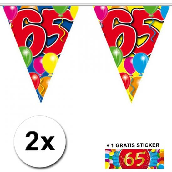 2x vlaggenlijn 65 jaar met gratis sticker