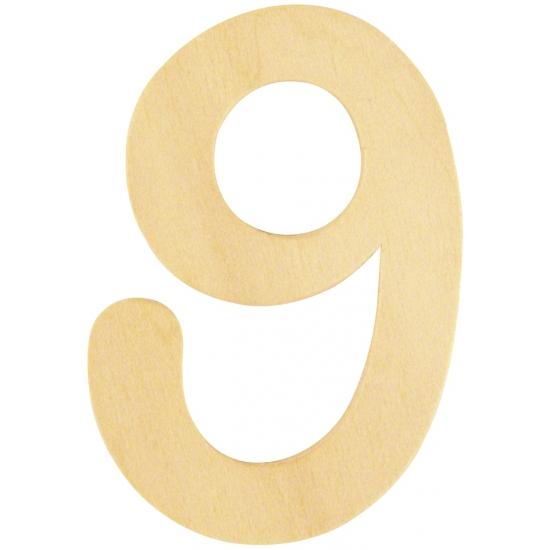 Cijfer 9 van houten materiaal