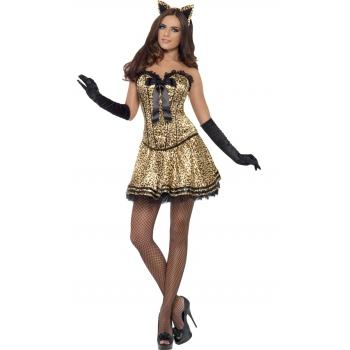 Sexy poezen oufit voor dames. sexy poezen kostuum voor dames met luipaard print, corset en tutu rokje....
