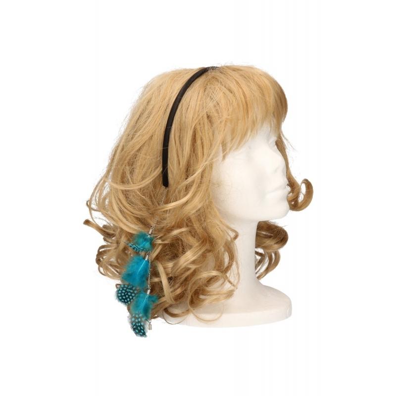 Diadeem met veren ketting blauw. blauwe haarband met een veren ketting. de veertjes vallen in het haar. deze ...