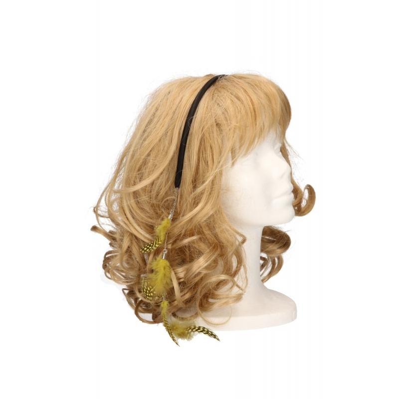 Diadeem met veren ketting geel. zwarte haarband met een veren ketting. de veertjes vallen in het haar. deze ...