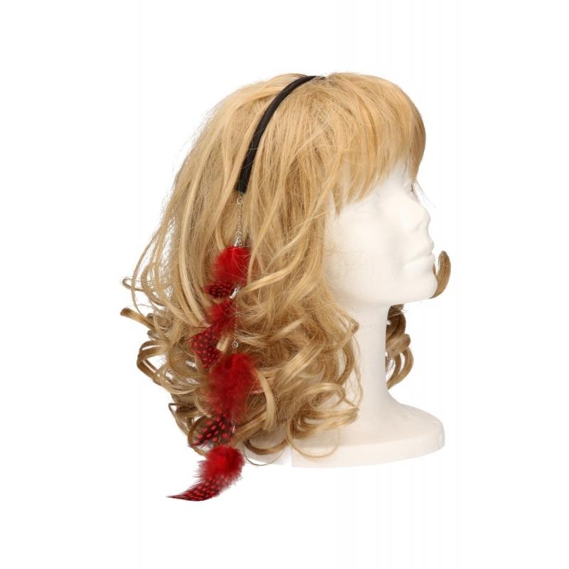 Diadeem met veren ketting rood. zwarte haarband met een veren ketting. de veertjes vallen in het haar. deze ...