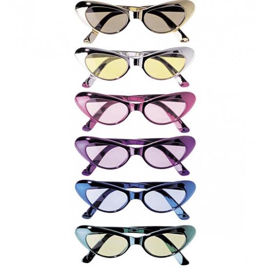 Ovale glimmende brillen. deze glimmende brillen creeren een katachtige uitstraling. deze ovale metallic ...