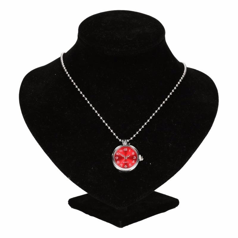 Zilveren horloge medaillon rood voor volwassenen