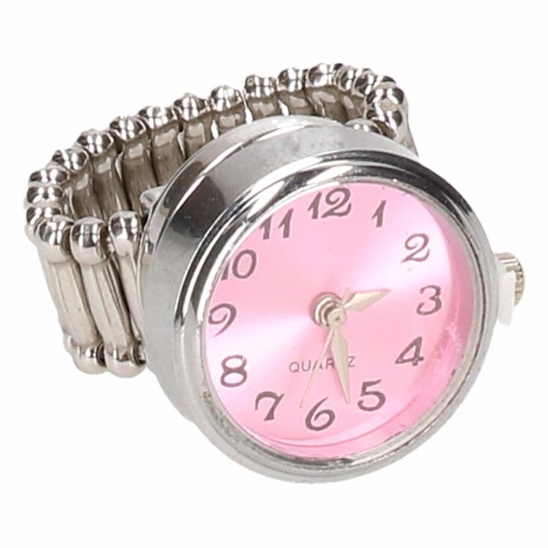 Zilveren horloge ring roze voor volwassenen