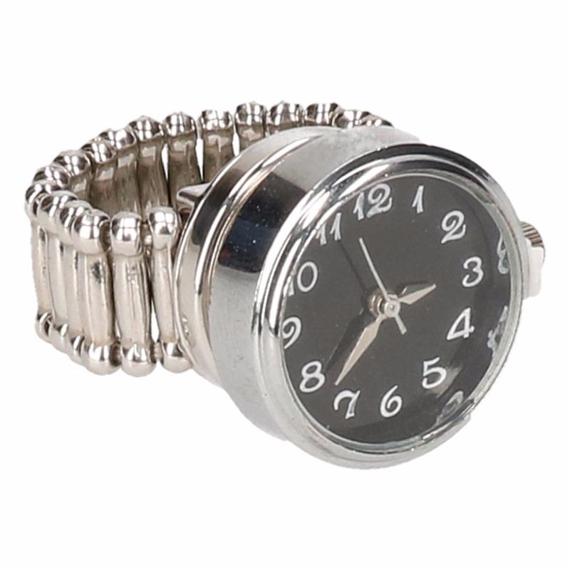 Zilveren horloge ring zwart voor volwassenen