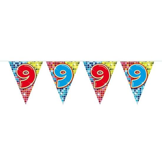 1x Mini vlaggenlijn slinger verjaardag versiering 9 jaar Geen Kopen