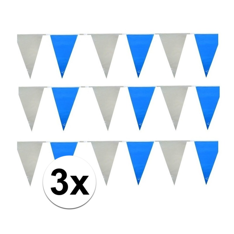 3x Plastic slinger lichtblauw en wit Geen Feestartikelen diversen