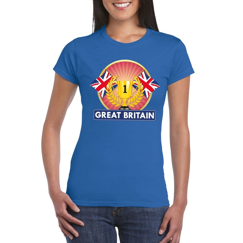 Landen versiering en vlaggen Shoppartners Blauw Groot Brittannie Engeland supporter kampioen shirt