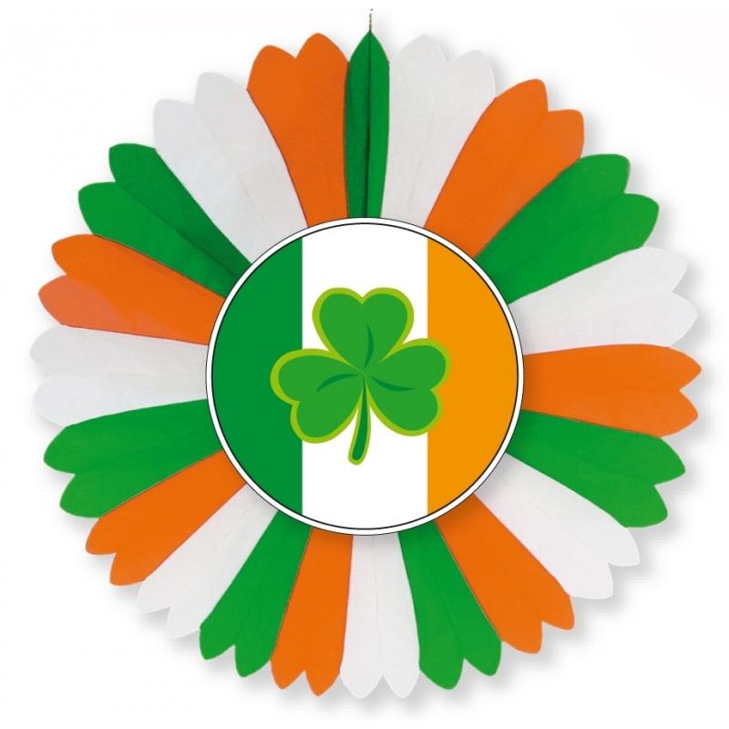 Landen versiering en vlaggen Geen Ierland waaier decoratie 60 cm