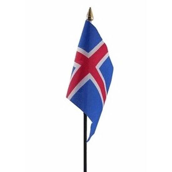 Landen versiering en vlaggen IJsland mini vlaggetje op stok 10 x 15 cm