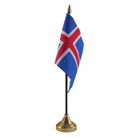 Geen IJsland tafelvlaggetje 10 x 15 cm met standaard Landen versiering en vlaggen