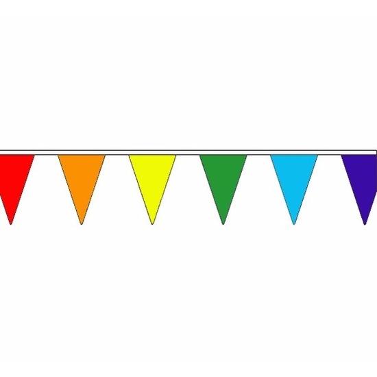 Feestartikelen diversen Geen Polyester vlaggenlijn regenboog 5 meter