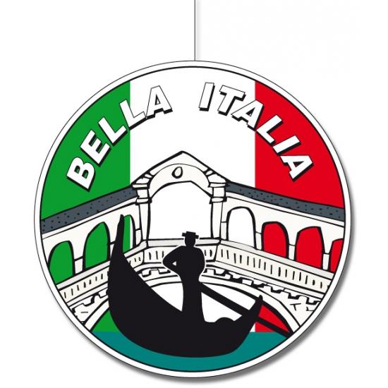 Landen versiering en vlaggen Geen Rond decoratie materiaal van Italie 28 cm