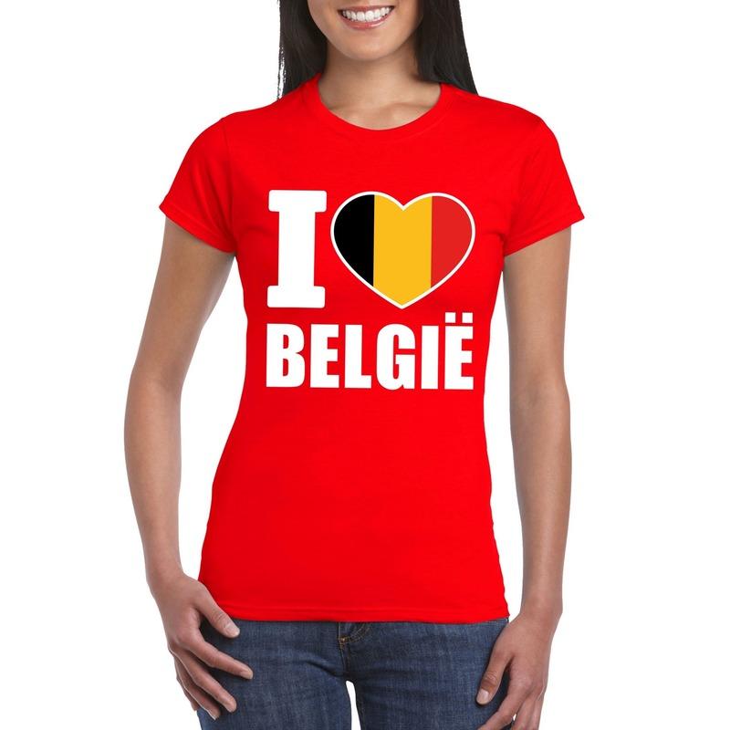 Landen versiering en vlaggen Shoppartners Rood I love Belgie shirt dames