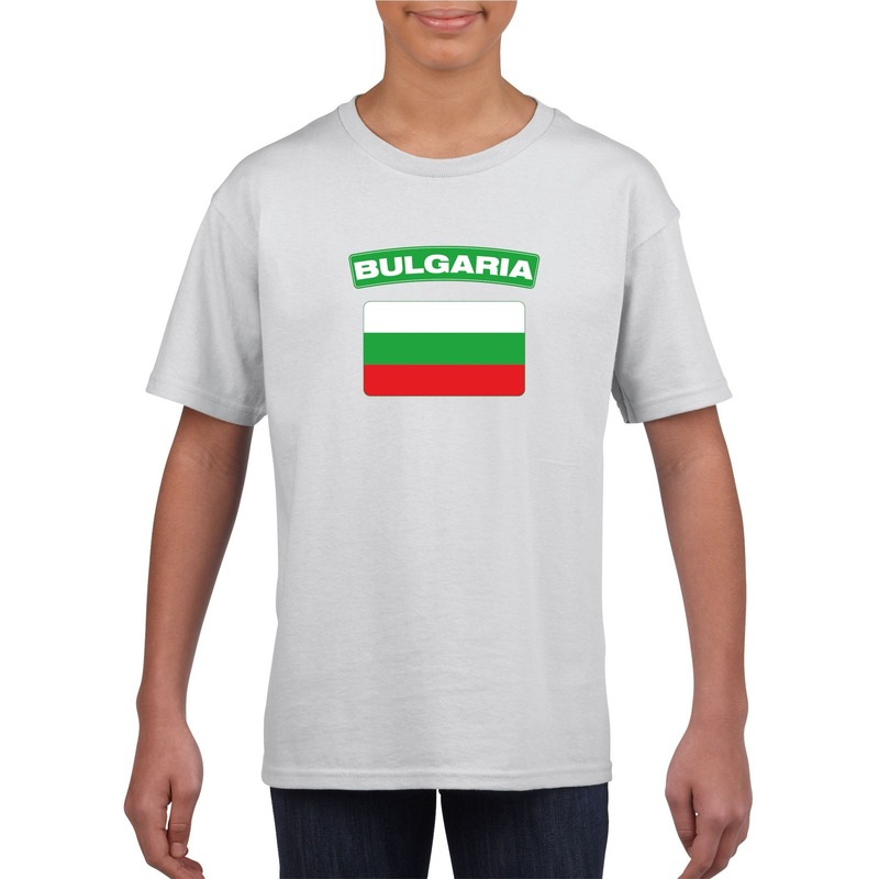 Landen versiering en vlaggen Shoppartners T shirt met Bulgaarse vlag wit kinderen