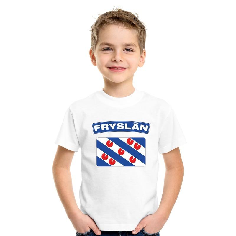 Shoppartners T shirt met Friese vlag wit kinderen Landen versiering en vlaggen