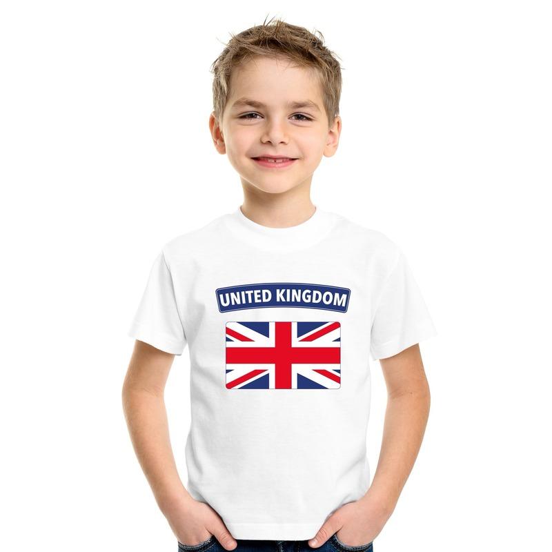 T shirt met Groot Brittannie Engelse vlag wit kinderen Shoppartners Landen versiering en vlaggen