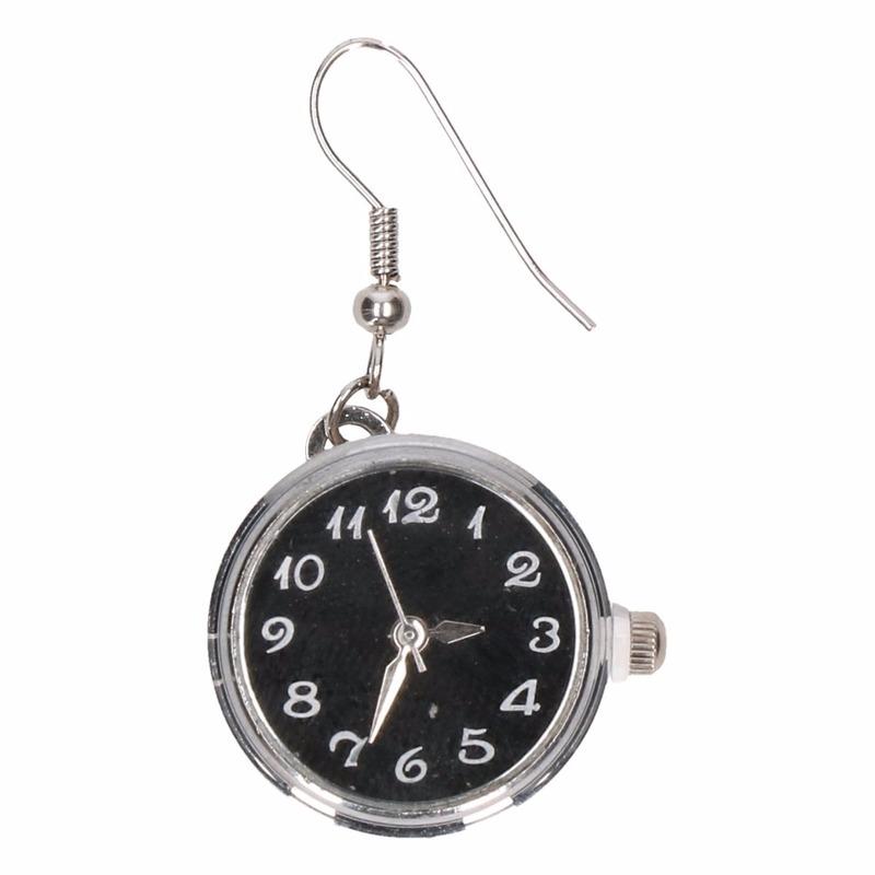Zilveren horloge oorbellen zwart voor volwassenen