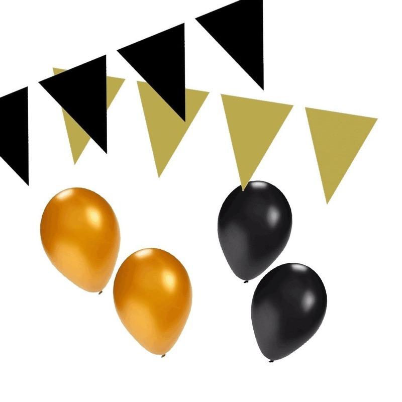 Feestartikelen diversen Shoppartners Zwart Gouden feest versiering pakket small