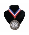 Number 2 medaille lint rood wit blauw