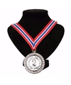 Number 2 medaille lint rood/wit/blauw