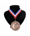 Number 3 medaille lint rood wit blauw