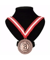 Number 3 medaille lint rood/wit/rood