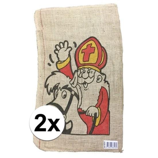 2x Jute kadozak Sinterklaas 50x80 cm Cadeau /feestartikelen/thema-feestartikelen/sinterklaas/sinterklaas-inpakmaterialen/sinterklaas-cadeau-kado-zakken