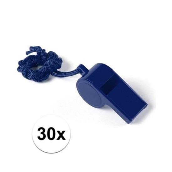 30x Blauw fluitje aan koord