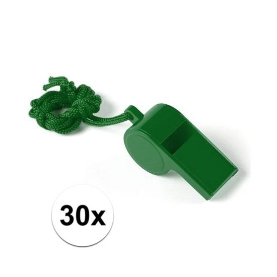 30x Groen fluitje aan koord