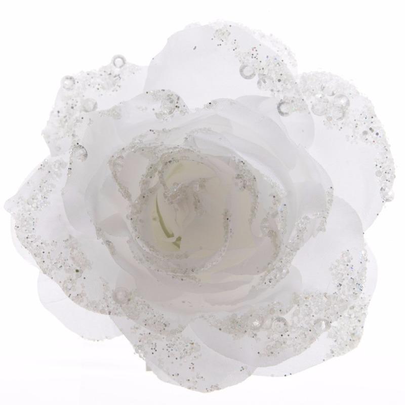 57b608304be 3x kerst decoratie roos bloem winter wit 14 cm. de kerstroos op clip is  bezaaid