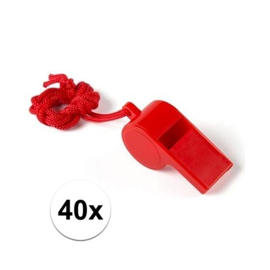40x Rood fluitje aan koord