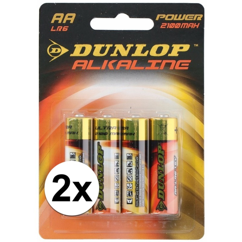 Alkaline batterijen LR6 AA Dunlop 8 stuks - Action products