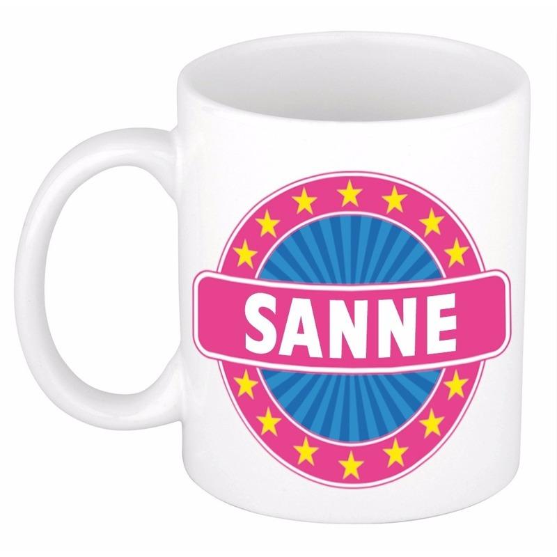 Cadeau mok voor collega Sanne Cadeau /kados–gadgets/koffie-thee-mokken/naam-mokken/meisjes
