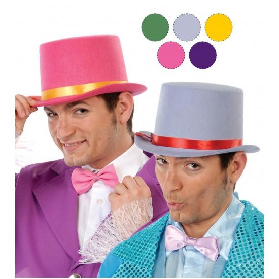 Carnaval hoge hoed van grijs vilt