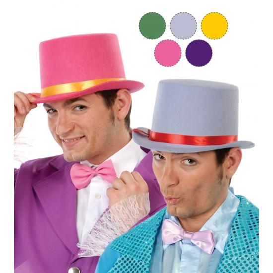 Carnaval hoge hoed van roze vilt