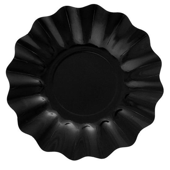 Diepe zwarte borden van karton 21 cm