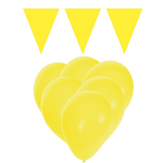 Gele versiering 15 ballonnen en 2 vlaggenlijnen