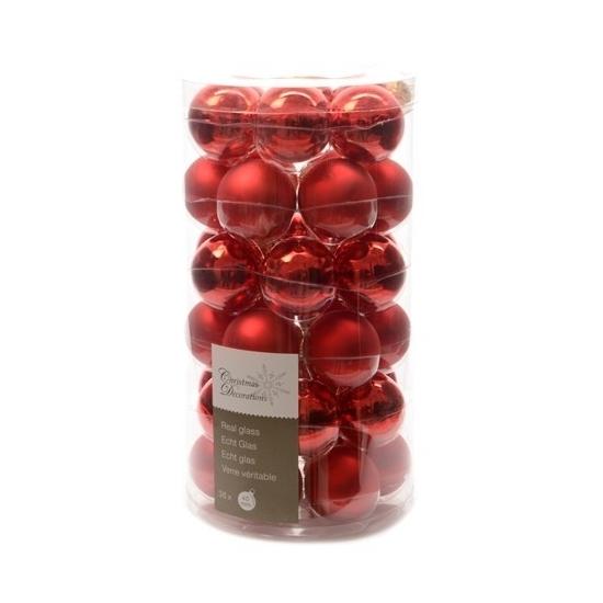 Kerstballen mix rood 36 stuks