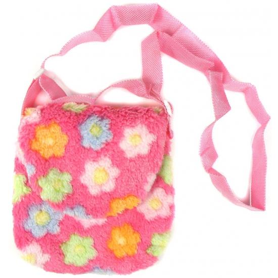 49782ce0d5a Kindertas roze met bloemetjes. deze roze pluche kindertas met gekleurde  bloemen heeft een formaat van