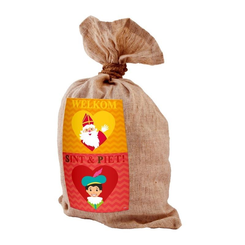 Medium jute kadozak Sinterklaas 50x80 cm Cadeau /feestartikelen/thema-feestartikelen/sinterklaas/sinterklaas-inpakmaterialen/sinterklaas-cadeau-kado-zakken