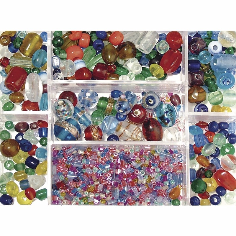 Opbergdoos gekleurde glaskralen 115 gram