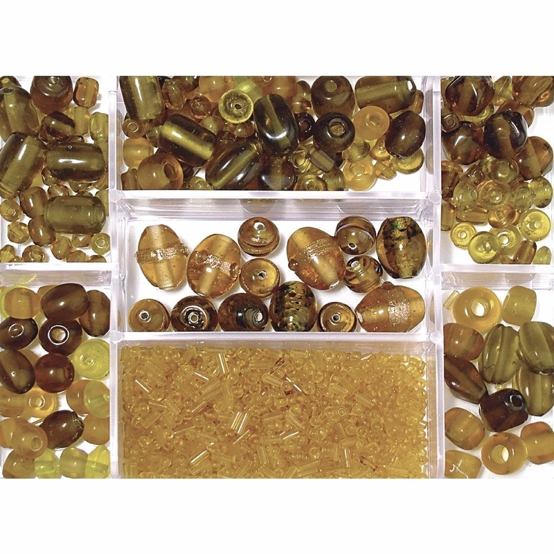 Opbergdoos gele glaskralen 115 gram
