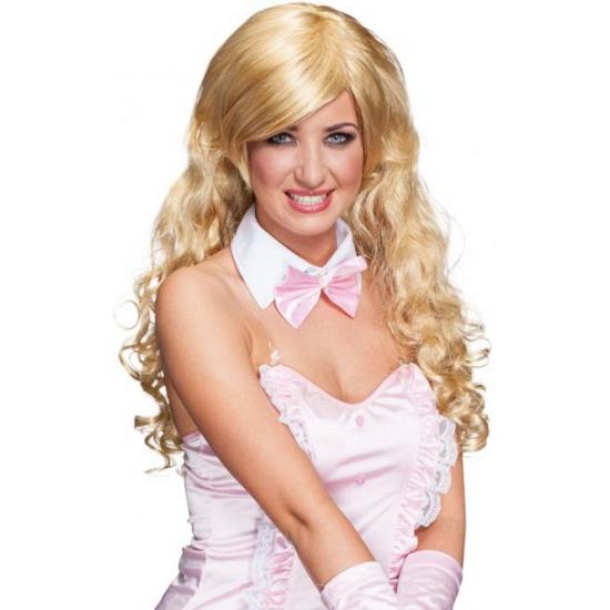 Pruik blond lang krullend haar