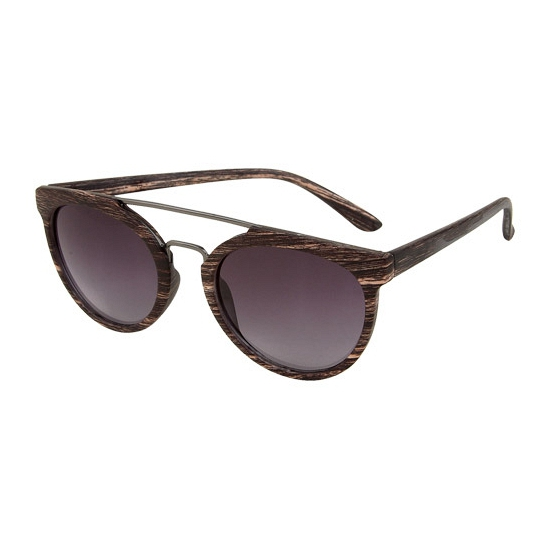 60418ba19cc8e4 bruine woodlook ronde aviator zonnebril met metalen neusbrug de zonnebril  heeft zwarte