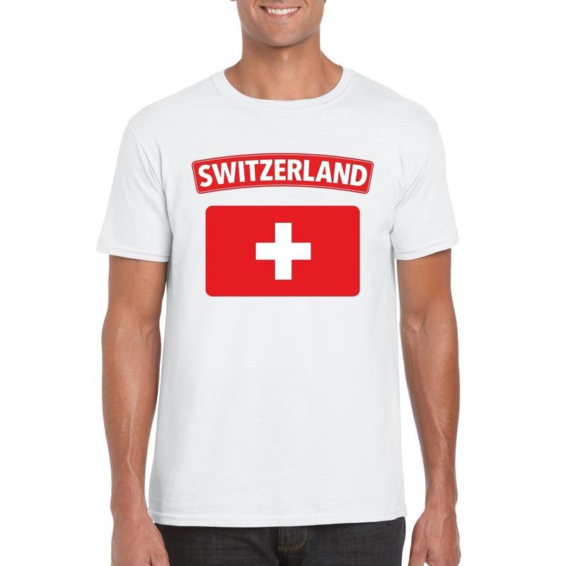 T-shirt met Zwitserse vlag wit heren
