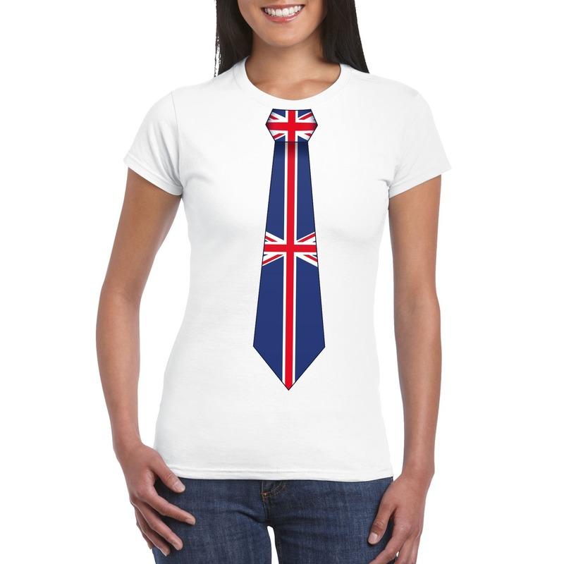 Wit t shirt met engeland/ great britain vlag stropdas dames. leuk shirt voor een wk/ ek of ander engels feest....
